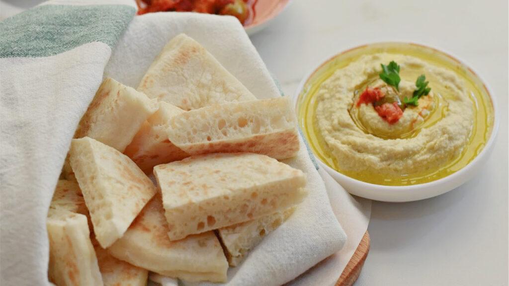 Turkish Flatbread Bazlama with Hummus